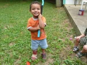 2 year old Julian, making the best of his broken foot